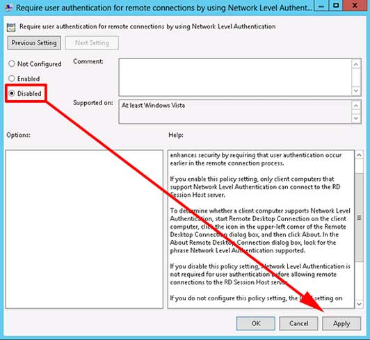 an authentication error has occurred rdp