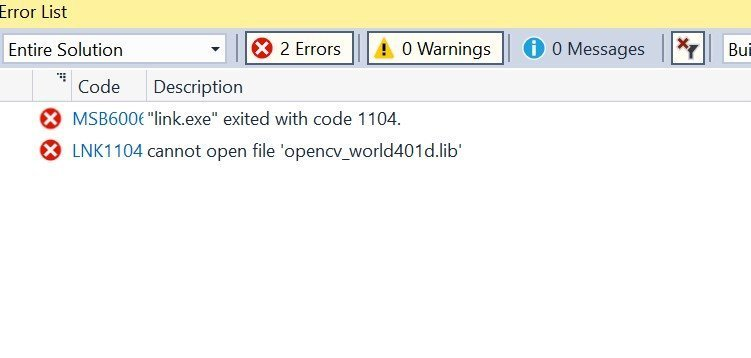 the code execution cannot proceed because opencv dll was not found