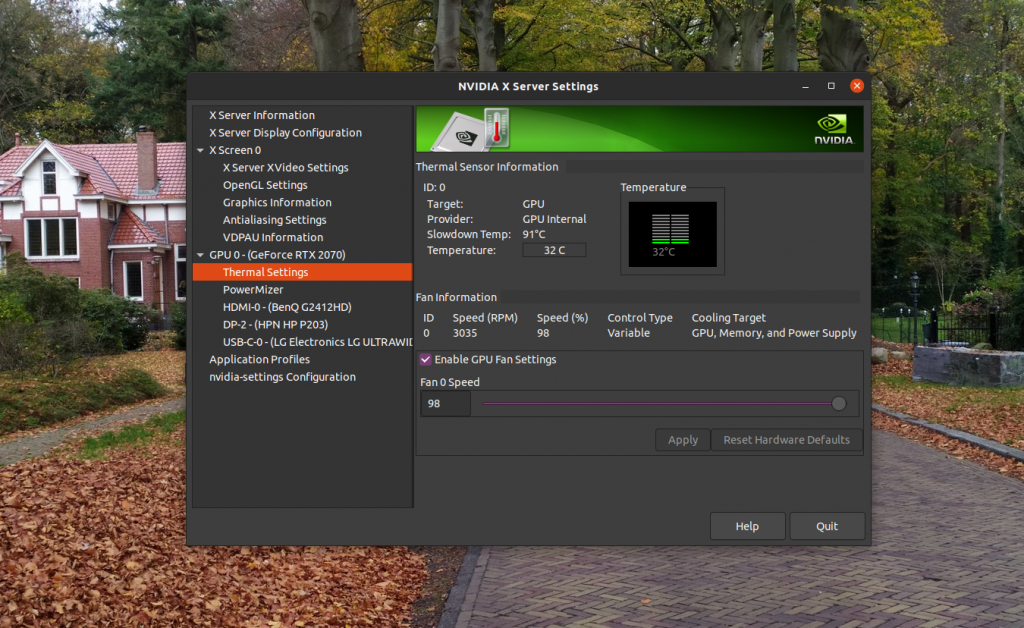 Nvidia-settings Fan Speed